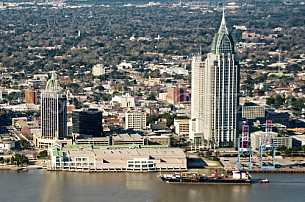 Ship passing Downtown Mobile - aerial