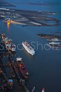 Cruise Ship Aerial at dusk