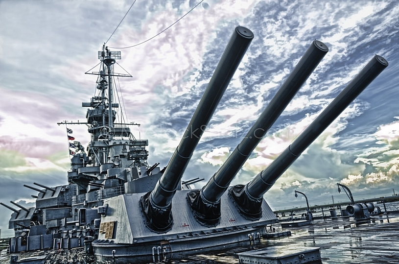 USS Alabama Battleship - Deck View EFFECT