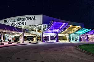 Mobile Regional Airport at night
