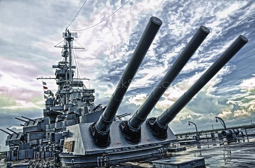 USS Alabama Battleship - Deck View EFFECT