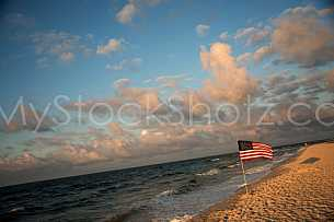 American Flag on the Beach - Gulf Shores