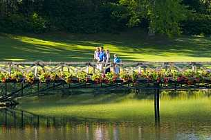 Bellingrath Gardens family on bridge